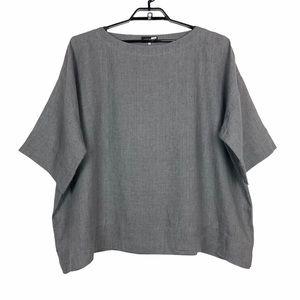 Eskandar Linen Boxy Top Size 0 Gray Short Sleeve